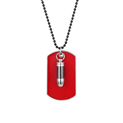 Flongo Herrenkette Männer Anhänger, Legierung Halskette Silber Schwarz Patrone Geschoß Gewehrkugel Kugel Erkennungsmarke Dog Tag Armee Stil Poliert Stammes Herren Accessoires Rot