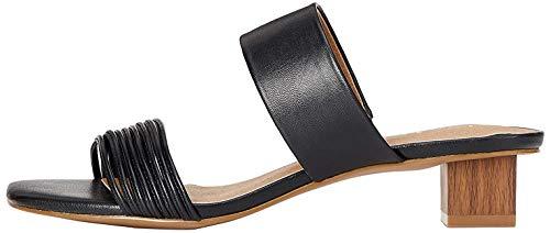 Marca Amazon - Find. Sandalias abiertas para mujer con tacón de rayas, color Negro, talla 39 EU