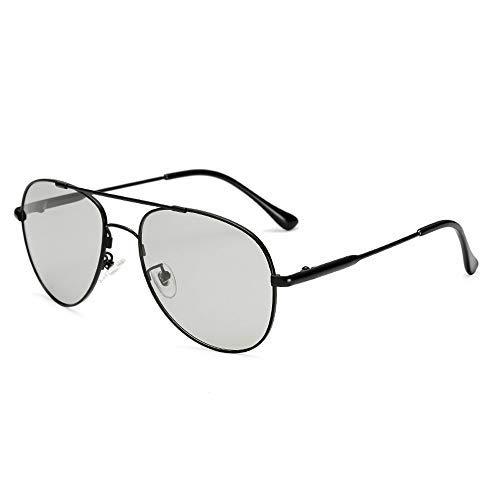 Yeeseu Gafas de sol del marco del metal de los hombres gafas de sol polarizadas gafas de sol de moda que cambia de color espejo gafas de moda (Color: 01Dark astilla, Tamaño: Libre) Ciclismo, Correr, P