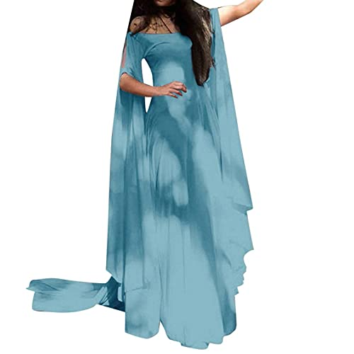 Hipeya Women's Renaissance Medieval Costumes Plus Size Vintage Dress Medieval Cosplay Costume Maxi Dresses Fancy Gowns Gothic Retro Gown Light Blue