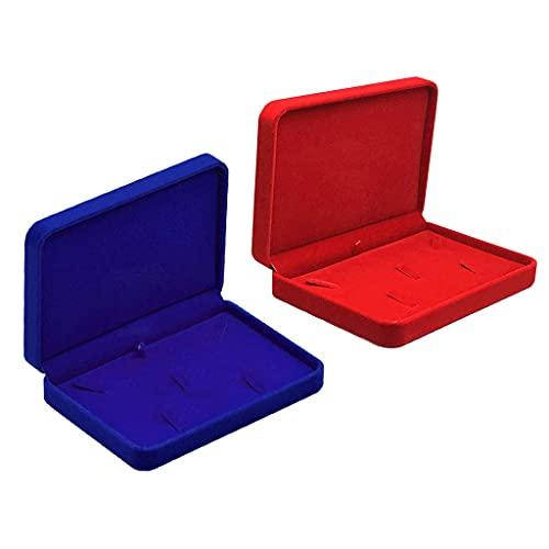 HMHMVM Juego de 2 cajas de joyería de madera, organizador de almacenamiento de terciopelo