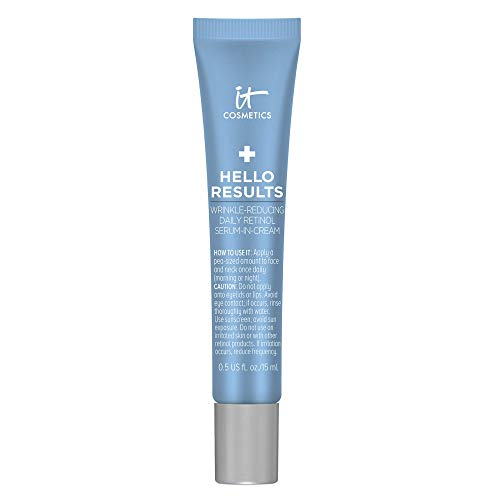 IT Cosmetics Hello Results Wrinkle-Reducing Daily Retinol Serum-in-Cream - Firming & Anti-Aging Retinol Face Cream with Niacinamide, Vitamin B5 & Vitamin E - 0.5 fl oz