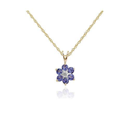 Gemondo Tanzanite Necklace, 9ct Yellow Gold 0.48ct Tanzanite & Diamond Floral Pendant on 45cm Chain