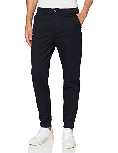 Amazon Brand - MERAKI Men\'s Stretch Cargo Trousers with Elasticated Cuffs, Schwarz (Black), L