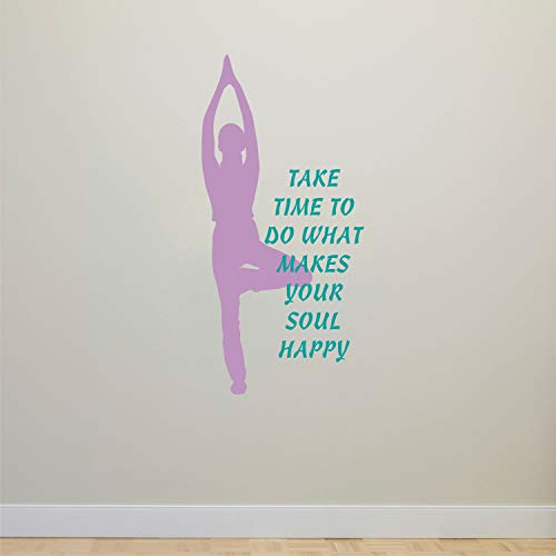 Yoga Decal, Take Time To Do What Makes Your Soul Happy Decal, Gym Wall Decal, Lotus Decal, Namaste, Vinyl Lettering, Fitness, Pilates, 18 Inch In Width