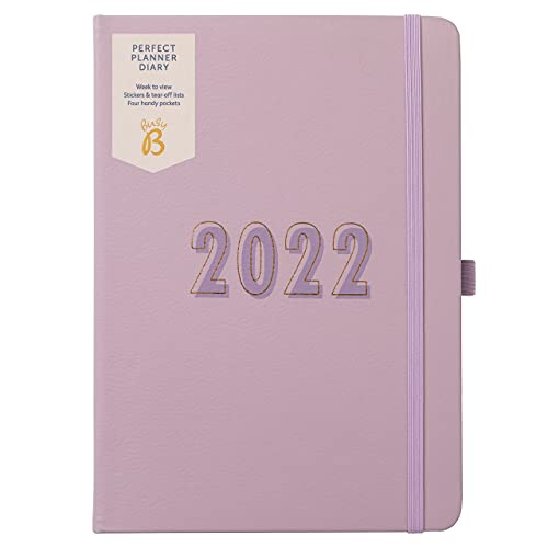 Busy B Perfect Planner A5 Week to View Diary January to December 2022 – Lilac Faux Leather Week to View Planner with Stickers & Tear-Out Lists