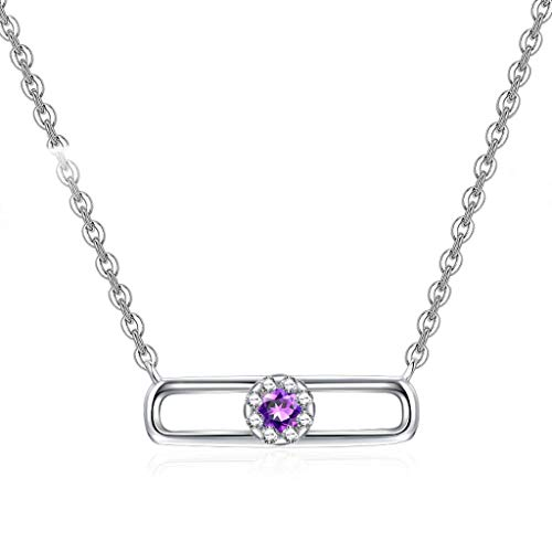 YXDEW Luck Pendant Chain Necklace Women's Clavicle Chain Necklace 925 Sterling Silver Amethyst Pendant Necklace With 18 Inch Silver Chain Necklace for Women honored