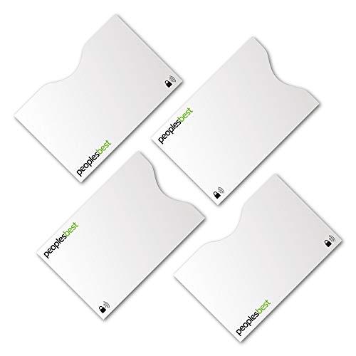 TÜV geprüfte RFID & NFC Blocker Kreditkarten-Schutzhülle (4 Stück)   stabile EC Kartenhülle gegen Datenklau und unerlaubtes auslesen   super dünn & reißfest für 100% Datenschutz (Basic White)