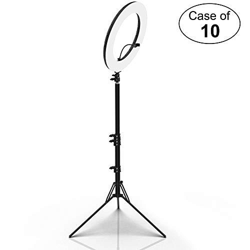 """Case of 10, Inkeltech 18"""" Outer LED Ring Light Kit - White Plastic Cover and Black Aluminum Tripod"""