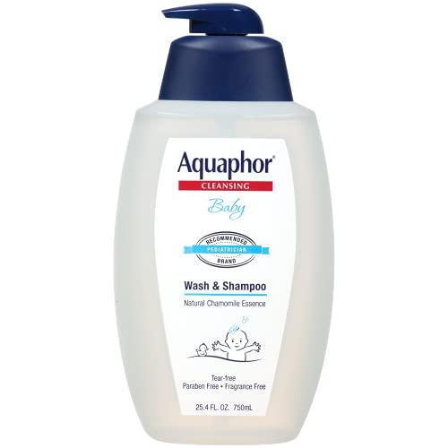 Aquaphor Baby Wash and Shampoo - Mild, Tear-free 2-in-1 Solution for Baby's Sensitive Skin - 25.4 fl. oz. Pump