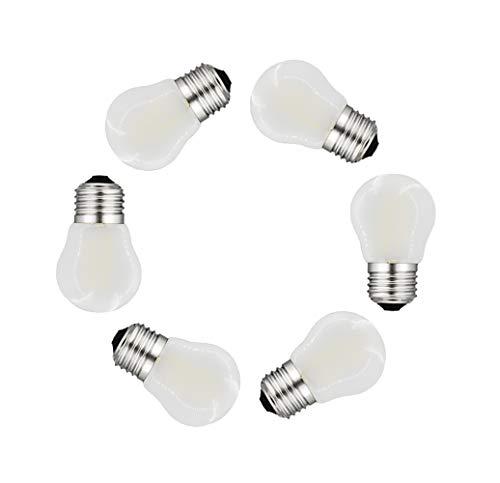 MENTA Bombilla LED esférica E27, 4 W, equivalente a 40 W, Blanco frío 6500k, 400 lúmenes, No regulable, Vidrio esmerilado, 6 Unidades