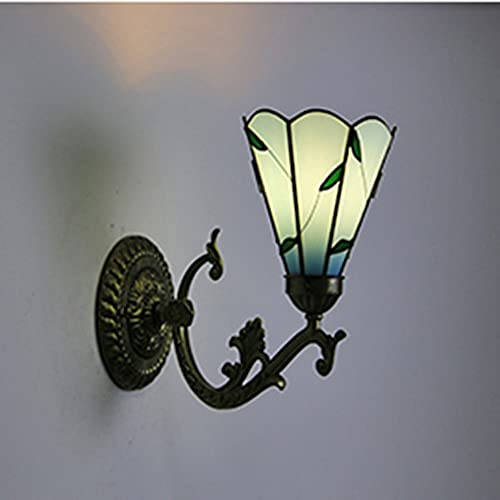 FVDS Retro Tiffany Style Wall Lamp, Children's Room Study Eye Protection Lamp, Stained Glass Art Deco, E27 Base for Bedside, Classic Hallway Sconce (Color : Green)