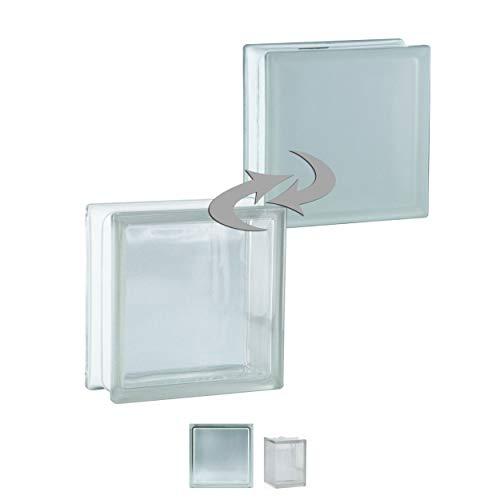 Fuchs Design 6 Stück Glassteine BM Glassteine Vollsicht SUPER White Glasstein 1-seitig satiniert 19x19x8 cm