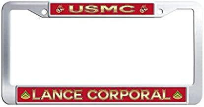 Hensonata USMC 'Lance Corporal' Car Licence Plate Covers, Cool U.S. Marine Corps Metal Waterproof License Cover Holder with Screw Caps for US Vehicles