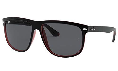 Ray-Ban RB4147 617187 Sunglasses Matte Black On Transparent Red / Dark Grey Lens 56mm