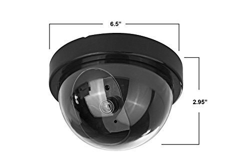 Fake Security Cameras (4 Pack) CCTV Dome Dummy Camera with Realistic Look Recording Flashing Red LED Light Indoor and Outdoor Use, for Homes & Business- by Armo