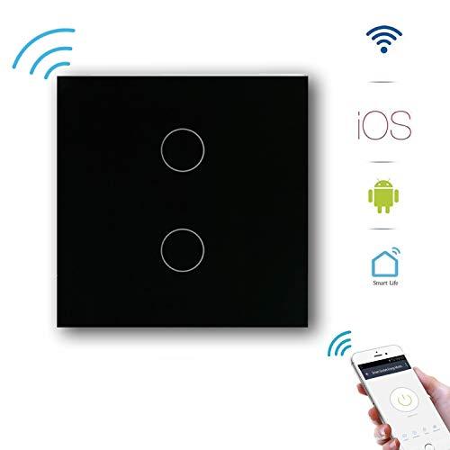 Alexa Lichtschalter 1 Weg Schwarz GoKlug Smart Home WLAN Lichtschalter Alexa Google Home APP Fernbedienung Lichtschalter Alexa Wechselschalter, Smart Switch Wifi Lichtschalter Glas Touch Innen