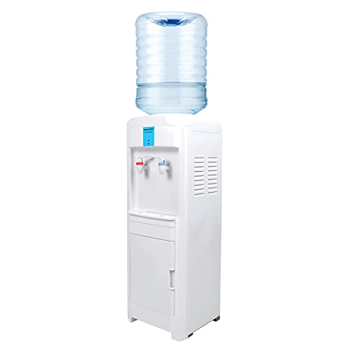 WOOW DEPOT Water Dispenser Top Loading Freestanding Hot and Room Temperature Water Dispenser Holds 3 to 5 Gallon Bottles with Storage Cabinet for Home Office Kitchens Dorms, Ground Type
