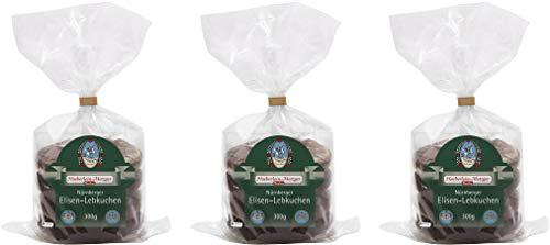 Haeberlein-Metzger Elisen Lebkuchen zweifach Glasier und Schokoliert 2 fach 3 x 300g