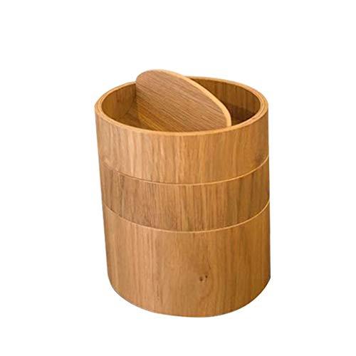 Caja de madera de múltiples funciones de escritorio redondo, estante de almacenamiento de joyería para las cajas de reloj del organizador casero Pendiente de almacenamiento del guardarropa de los homb