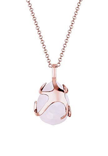 Elli Women's 925 Sterling Silver Xilion Cut Quartz Teardrop Necklace with Pendant Of Length 60 cm