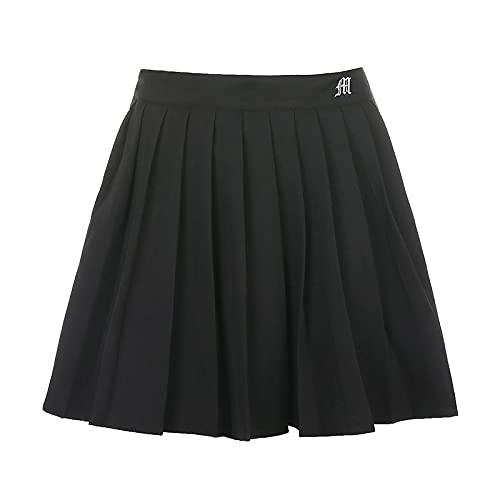 Falda Plisada Falda Plisada Blanca Negra con Pantalones Cortos Debajo De La Mujer De Cintura Alta Mini Sexy Y2K Verano Bordado Tenis Deportes Niña Faldas S