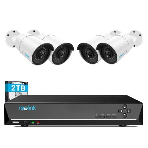 Reolink 8CH 4MP PoE Kit de Sistema de Cámara de Vigilancia, con 4X PoE 4MP Cámara IP Impermeable y 8CH 2TB HDD NVR para 24/7 Grabación, Visión Nocturna Audio Acceso Remoto, RLK8-410B4