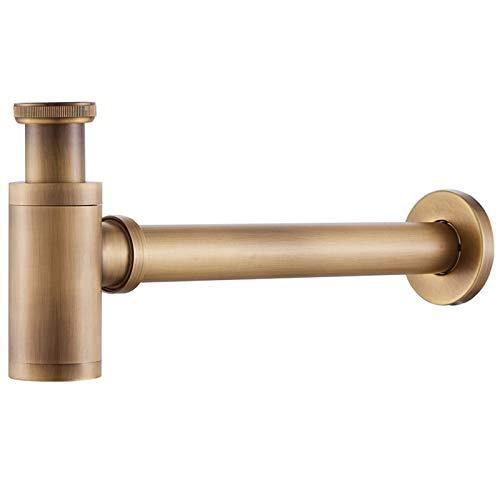 panthem Messing Design Siphon Universal Siphon für Waschbecken Waschtisch Bad Abflussgarnitur Ablaufgarnitur Röhrensiphon, Rund Geruchverschluss
