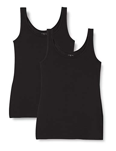 IRIS & LILLY Camiseta de Tirantes de Algodón para Mujer, Pack de 2, 2 x Negro, Medium