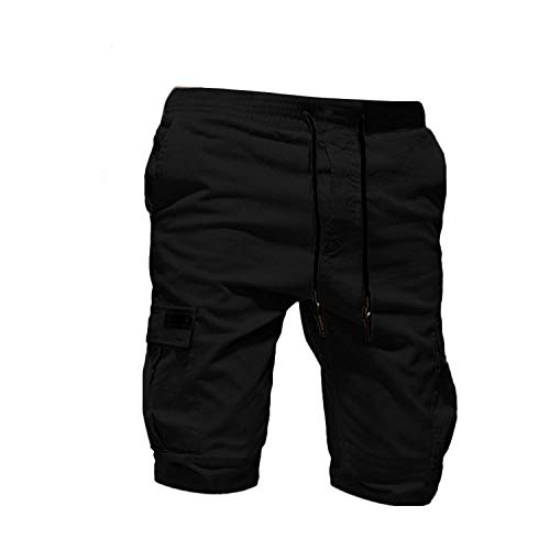 short D'Été Hommes Pantalon Sport Pur Couleur Bandage Casual Lâche Pantalon De Pulls Cordon Hommes Pantalon De Fitness Hommes Pantalons 2020 - Noir - L