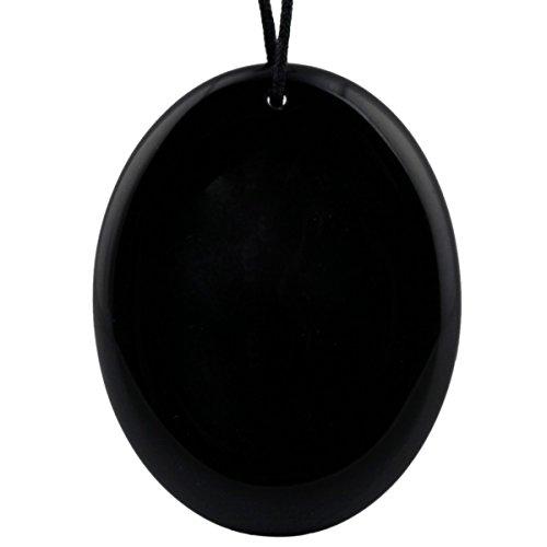 Nupuyai Oval Worry Stones Healing Crystal Polished Thumb Palm Stone Pendant for Unisex, Black Obsidian