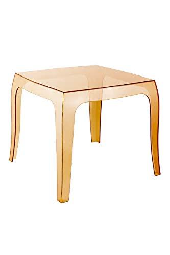 CLP Tavolino Modernoa Salotto in Polipropilene Queen I Tavolino da Appoggio Quadrato Esterno I Tavolino Soggiorno Giardino, Colore:Ambra