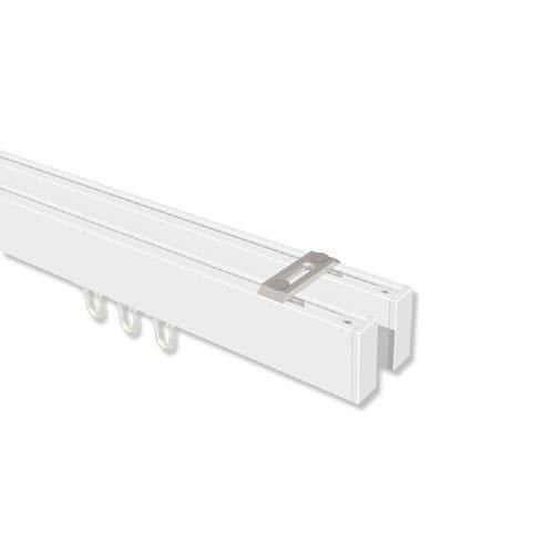 INTERDECO Innenlaufstangen eckige Innenlauf-Gardinenstangen (Deckenbefestigung) Weiß doppelläufig Smartline (Universal) Paxo, 280 cm