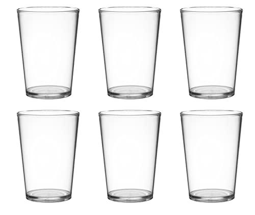 Garnet Akua - Juego de 6 vasos transparentes reutilizables - Apto para lavavajillas - 25 bordes/20 cl - Fabricado en Italia - Plástico
