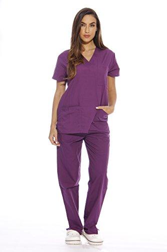 Just Love Women's Scrub Sets Six Pocket Medical Scrubs (V-Neck With Cargo Pant), Eggplant, Large