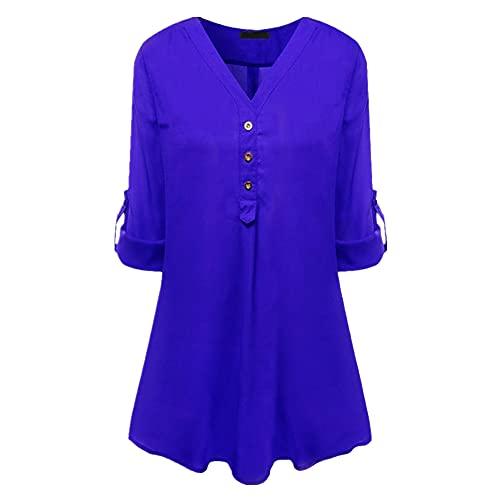 Camiseta de Mujer Top con Cuello en V Tops para Salir Blusa de Manga Corta Larga de túnica Camisas con Botones de Volantes Plisada con Cuello en V Informal para Mujer Camisas Blusa Tops de túnica