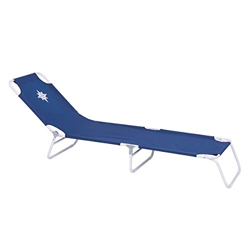 LOLAhome Tumbona Playa Plegable de 3 pies Azul Marino de Lona de 24x53x186 cm
