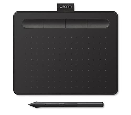 Wacom Intuos S - Bandeja de Dibujo portátil (para Pintar y editar Fotos con lápiz 4K Sensible a la presión y 1 Descarga de Software), Color Negro