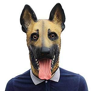 Watopi - Máscara de látex para disfraz de lobo para Halloween