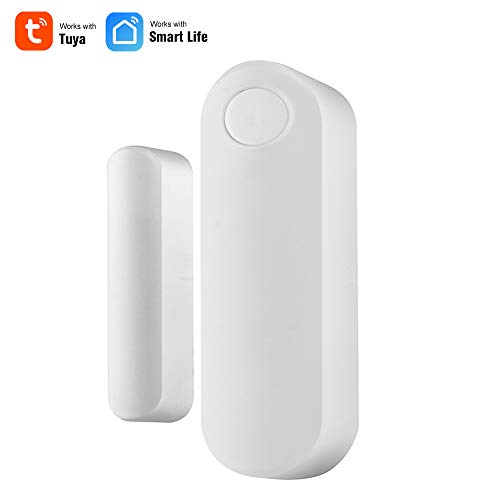 OWSOO Sensor de Puerta WiFi Inalámbrico, Soporte Control de Tuya/Smart Life App, Compatible con Alexa Google Home IFTTT