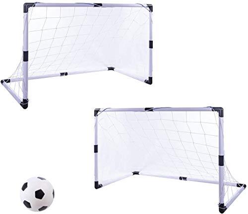 RZiioo Juego de portería de fútbol, Juego de 2 goles portátiles de fútbol para niños Juego de goles de fútbol con Bomba de Bola Neta para niños de 3 a 7 años, 92 * 61 * 48 cm