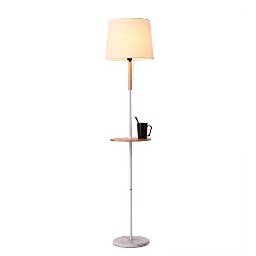 Stehleuchte Wohnzimmer einfache moderne Schlafzimmer Nachttischlampe mit Tisch Ablagefach Sofa Massivholz Lampe Körper Tuch Schatten vertikale Tischlampe (Größe: 28 * 165cm)