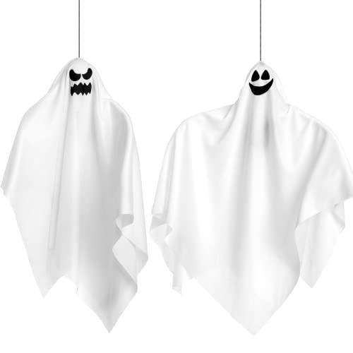 Fantasma Colgante Iluminado de Halloween (2 Pack), Lindos Fantasmas Voladores de 70 cm para Decoración de Fiesta de Halloween en Jardín, Patio