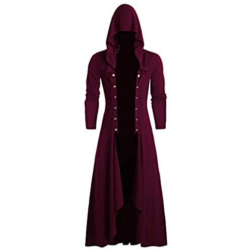 SUMTTER Steampunk Herren Umhang mit Kapuze Vintage Jacke Mantel Sale Gothic Kleidung Gehrock für Halloween Karneval Weihnachten