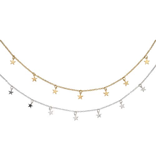 XLSFPY 2Pcs Star Choker Necklace Set Dainty Gold and Silver Star Tassel Chain Pendant Statement Necklace Collar for Women Girls