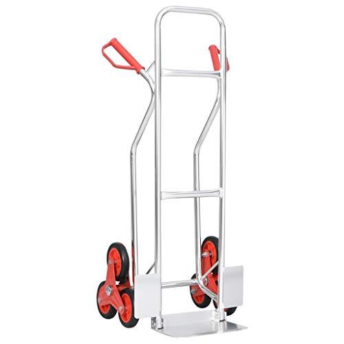 vidaXL Treppensackkarre mit 6 Rädern Sackkarre Transportkarre Treppenkarre Treppensteiger Stapelkarre 51x53,5x118cm 150kg Belastbarkeit