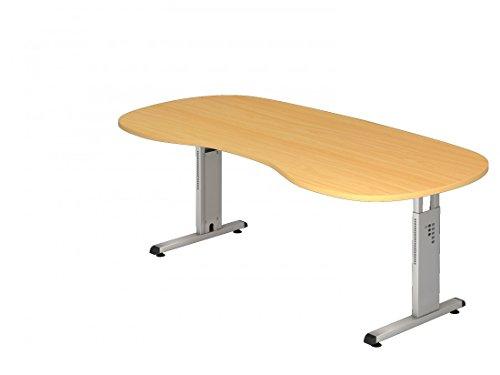 DR-Büro Schreibtisch höhenverstellbar nierenform 200 x 100 cm - Höhe 65-85 cm - Bürotisch mit silberfarbenem Gestell - 7 Farben, Farbe:Buche