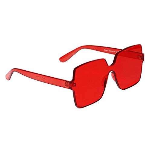 Amuzocity Gafas de Sol de Una Pieza de Moda Sombras Cuadradas de Anteojos de Color Caramelo Sin Montura - Rojo, 58x60mm