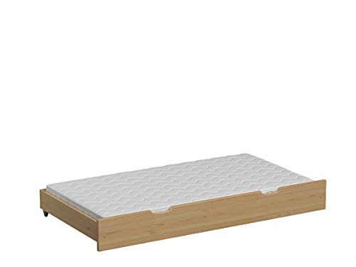 Children's Beds Home Pull Out Trundle Single Bed - Leo with Foam Latex Mattress (170x80 for 180x80 Bed, Natural)