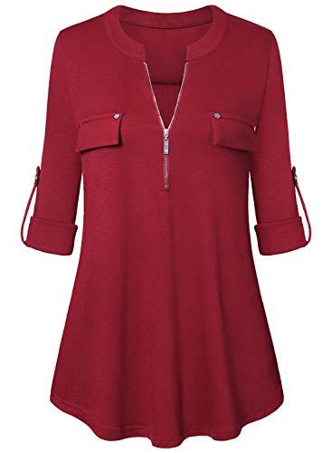 Amrto Damen V-Ausschnitt Bluse 3/4 Ärmel Farbblock Tunika Reißverschluss Langshirt Langarm Hemd Tops T-Shirt Oberteile, Rot L